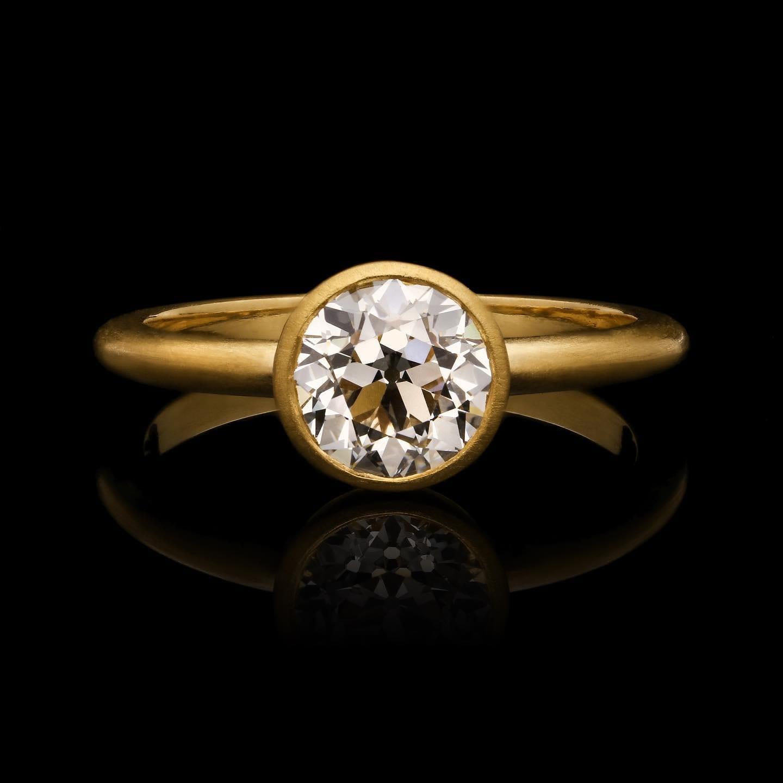 22ct bezel set s/s ring